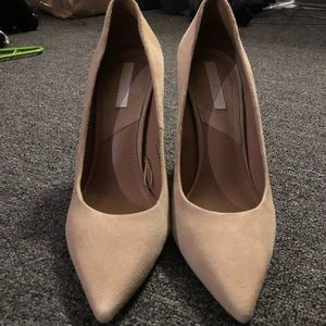H&M Real Suede Nude Heels - Size 6